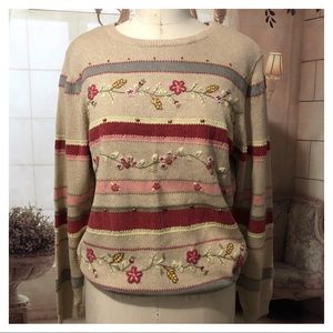 Alfred Dunner Sweater embroidered size S